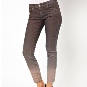 {FREE PEOPLE} Grey Ombré Skinny Crop Jeans